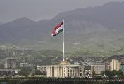 A giant flag of Tajikistan over Dushanbe