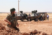 Turkish soldiers near Turkish-Syria border