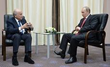 Президент Международной федерации футбола (ФИФА) Йозеф Блаттер и президент РФ Владимир Путин