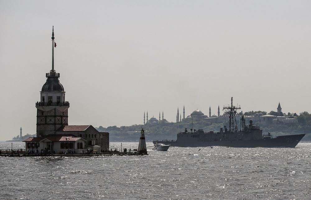 USS Taylor sails through the Bosporus in Istanbul, Turkey April 22, 2014