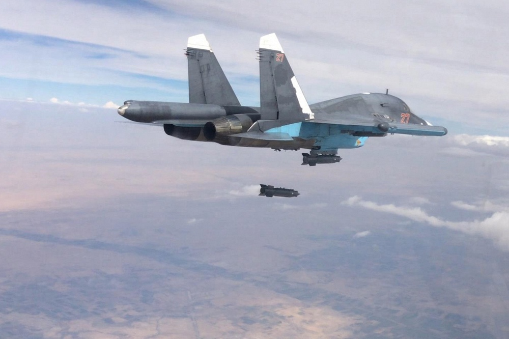 Russian Air Forces' Su-34 carrying out an air strike in the ISIS controlled Al-Raqqah governorate