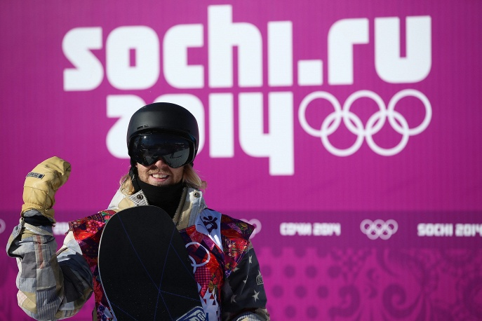 Sage Kotsenburg of the US reacts after his second run during heat two of the Men's Snowboard Slopestyle qualification at Rosa Khutor Extreme Park at the Sochi 2014 Olympic Games, Krasnaya Polyana, Russia