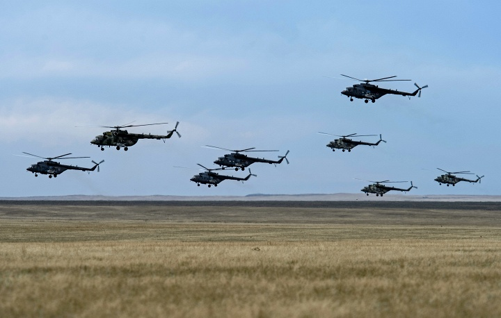 Helicopters participating in the Center-2015 military exercises