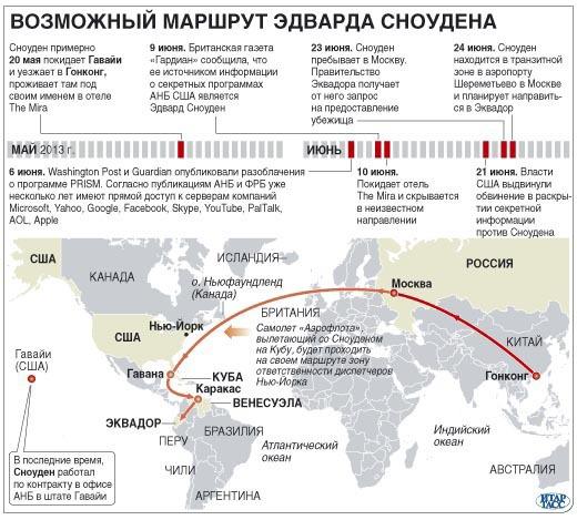 Возможный маршрут Сноудена