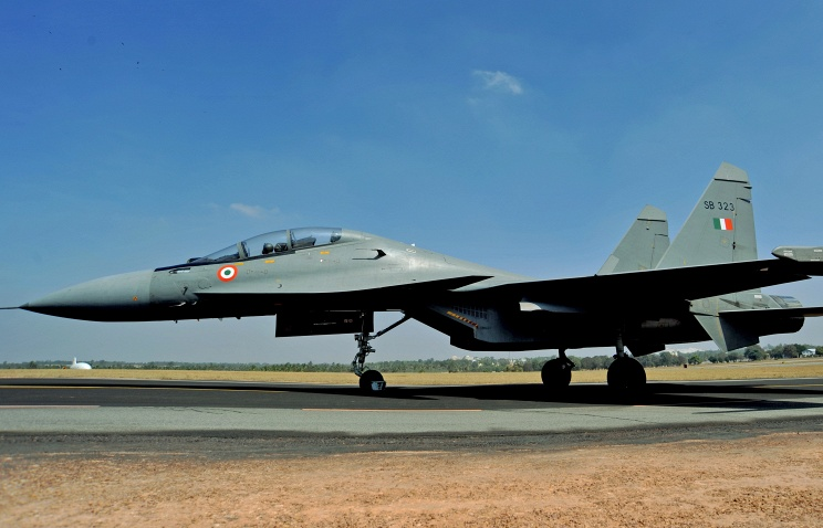 A Russian-made Sukhoi Su-30MKI fighter aircraft of the Indian Air Force