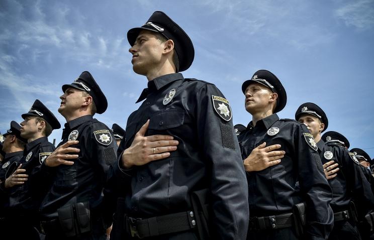 Ukrainian patrol police officers